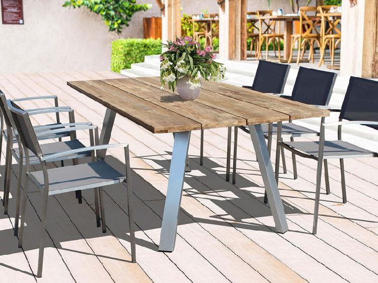 Set tavolo in alluminio e teak + 6 sedie outlet etnico: