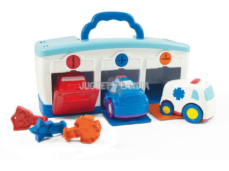Squadra di salvataggio garage valigetta con automobili