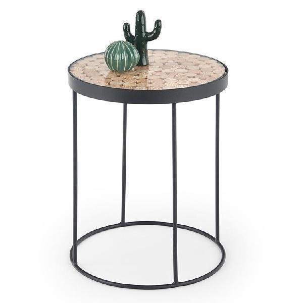 Tavolino rotondo mandal larice vetro acciaio nero salotto