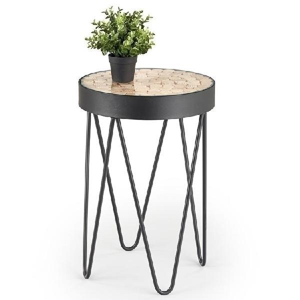 Tavolino rotondo oban larice vetro acciaio nero moderno