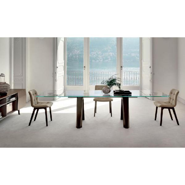 Tavolo allungabile struttura legno piano cristallo bontempi