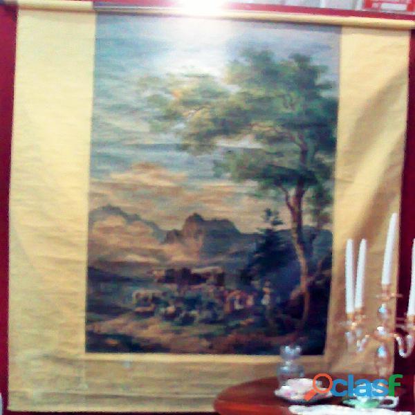 Antico dipinto teatrale in tessuto su rullo di legno , ampia scena bucolica montana