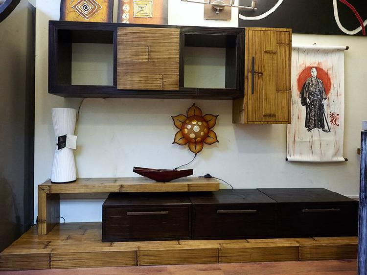 Soggiorno moderno essential legno /bambu in offerta outlet