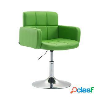 Sedia di design nadir, comoda imbottitura, girevole in pelle verde