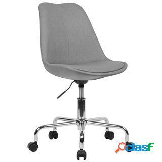 Sedia girevole ariel, sedile imbottito, base in metallo, tessuto grigio