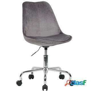 Sedia girevole ariel, sedile imbottito, base in metallo, velluto grigio