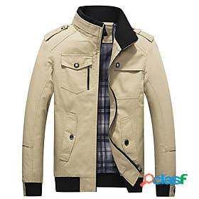 Men's hiking jacket military tactical jacket autumn / fall spring outdoor solid color thermal warm windproof multi-pockets multi pockets jacket top cotton hunt