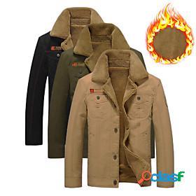 Men's bomber jacket military tactical jacket hiking fleece jacket fleece cotton winter outdoor solid color thermal warm windproof fleece lining ultra light (ul