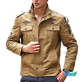 Men's hiking jacket military tactical jacket autumn / fall spring outdoor solid color thermal warm windproof multi-pockets lightweight jacket top cotton huntin