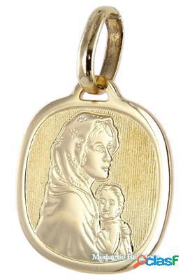 Medaglia madonna con bambino in oro giallo a lastra