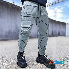 Men's basic outdoor sports cotton slim sports outdoor casual daily jogger chinos tactical cargo trousers pants solid colored full length sporty patchwork multi