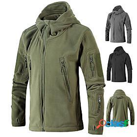 Men's hiking jacket hoodie jacket military tactical jacket fleece winter outdoor thermal warm windproof breathable stretchy winter jacket top single slider hun