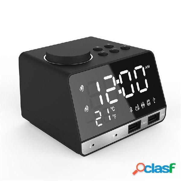 [eu] sveglia altoparlante radio fm wireless bluetooth con doppia usb (bianco)