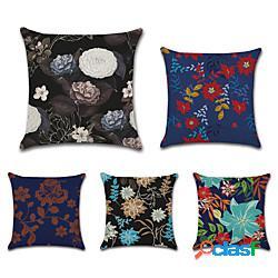 Cuscino floreale doppio lato 5pc morbido decorativo quadrato copertura del cuscino federa cuscino federa per camera da letto soggiorno di qualità superiore lavabile in lavatrice cuscino ester