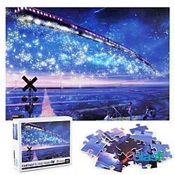 1000 pezzi di puzzle puzzle di carta spessa cielo stellato treno paesaggio giocattolo puzzle educativo per bambini adulti miniinthebox