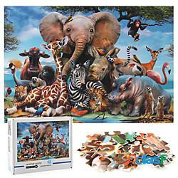 1000 pezzi puzzle puzzle addensato mondo animale puzzle giocattolo educativo di decompressione per bambini adulti miniinthebox