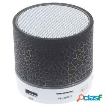 Altoparlante mini bluetooth con microfono & luce led a9 - effetto rotto - nero