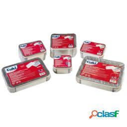 Contenitore in alluminio - 21,2 x 14,7 x 4 cm - 2 porzioni - coperchio incluso - cuki professional - pack 50 pezzi (unit vendita 1 pz.)