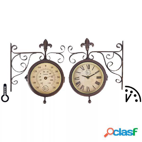 Esschert design tf005 orologio da parete di stazione con termometro