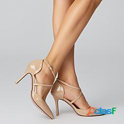 Per donna sandali taglie forti stiletto appuntite comoda casuale formale ufficio e carriera footing finta pelle fibbia tinta unita carne bianco nero lightinthebox