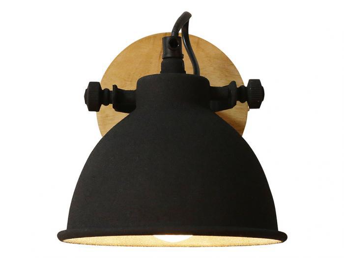 Applique stile industriale finley - ferro e legno - nero