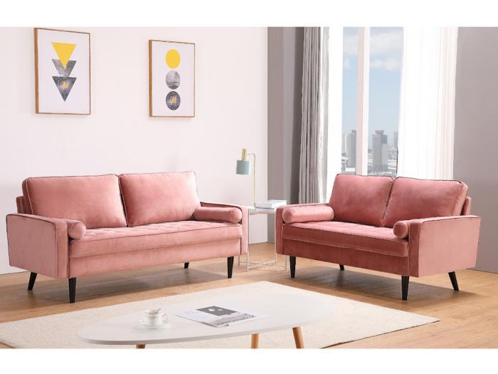 Divano 3 posti in velluto rosa piedi legno capitonné fleuet