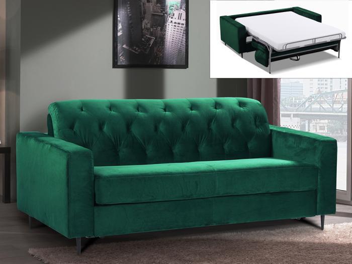 Divano letto a ribalta velluto sheridan colore verde abete