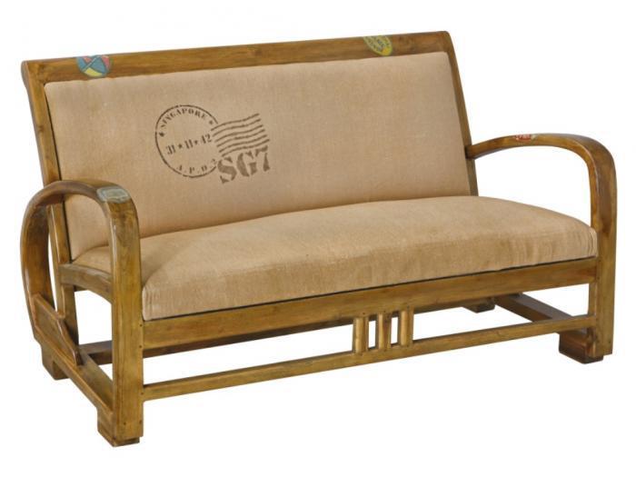 Panchina imbottita vintage in tessuto colore beige travel