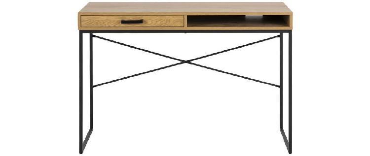 Scrivania con cassetto e contenitore in metallo e legno