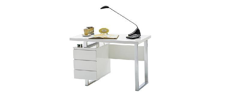 Scrivania design con cassettiera bianca laccata lucida l115