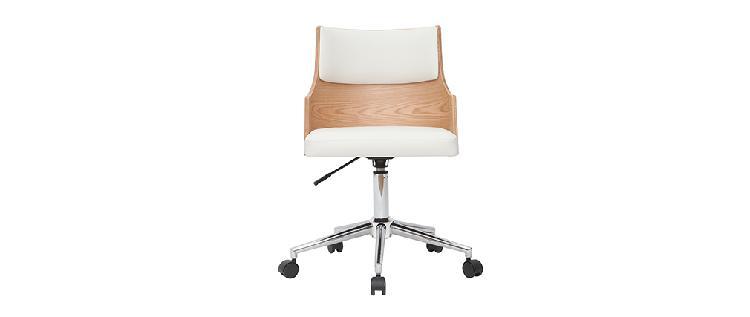 Sedia da ufficio design bianco e legno chiaro con cuscino