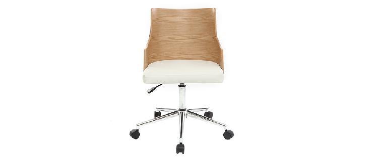 Sedia da ufficio design in poliuretano bianco e legno chiaro