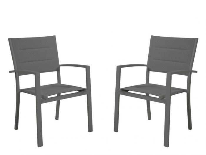 Sedie da giardino impilabili in alluminio e textilene