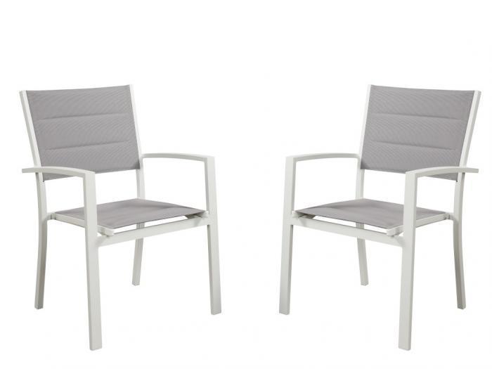 Sedie da giardino impilabili in alluminio e textilene grigio