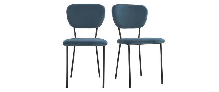 Sedie design in velluto blu e struttura in metallo nero set