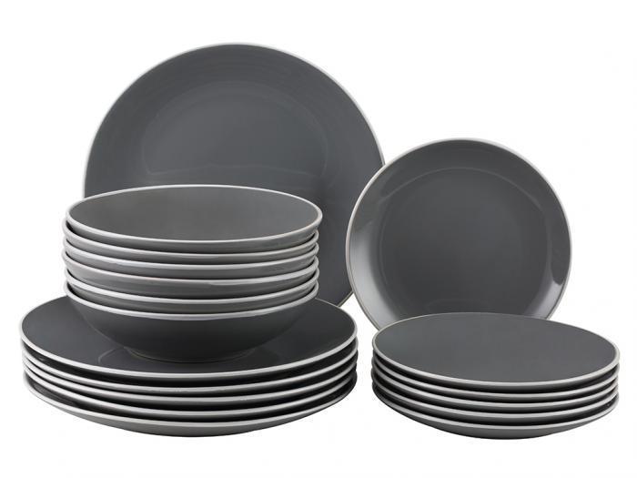 Servizio piatti -18 pezzi- grès grigio antracite - marianne