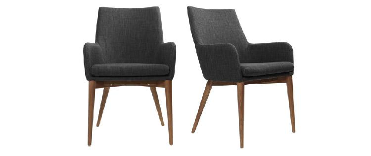 Set di 2 sedie design poliestere grigio antracite shana