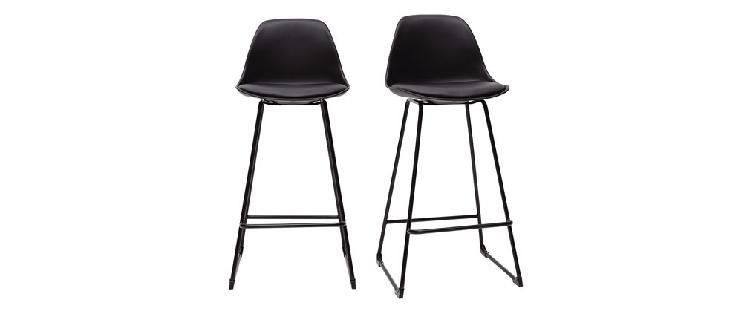 Set di 2 sgabelli da bar design neri piedi metallo 65 cm