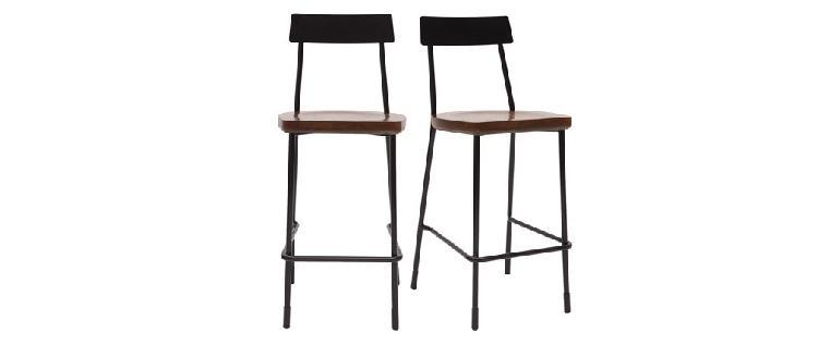 Set di 2 sgabelli da bar industriali metallo e legno nero 65