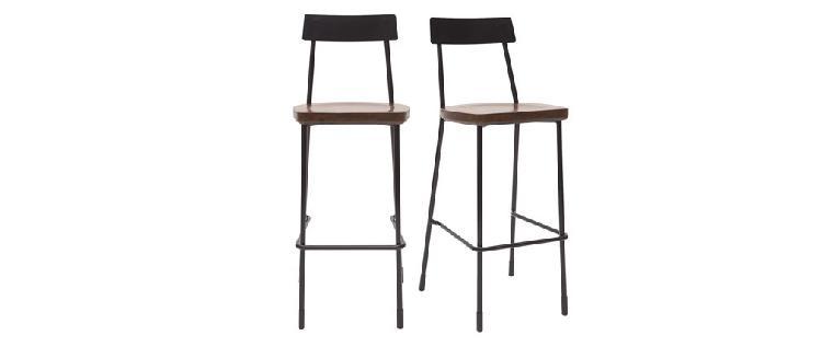 Set di 2 sgabelli da bar industriali metallo e legno nero 75