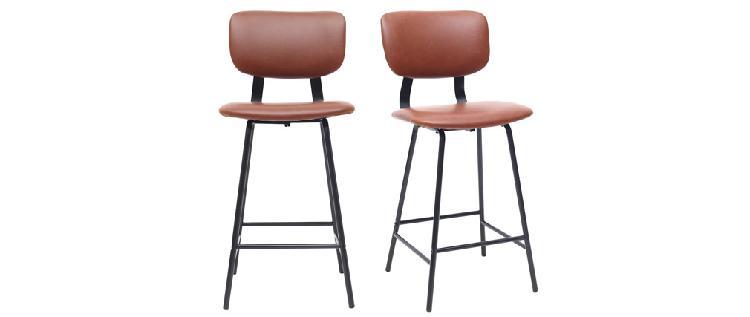 Set di 2 sgabelli da bar vintage marrone chiaro con piedi in