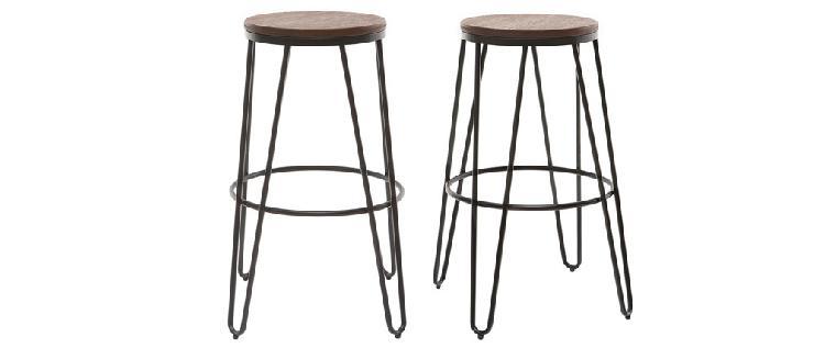 Sgabelli da bar in metallo nero e in legno 75 cm set di 2