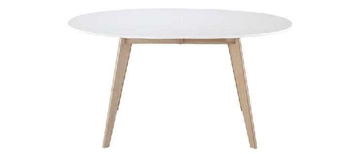 Tavolo allungabile ovale bianco e legno chiaro l150-200