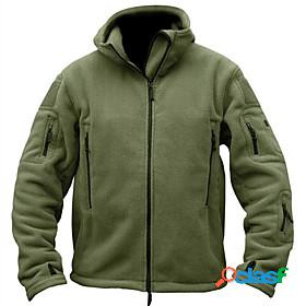 Men's military tactical jacket hiking fleece jacket winter spring outdoor solid color thermal warm windproof breathable stretchy winter fleece jacket top fleec
