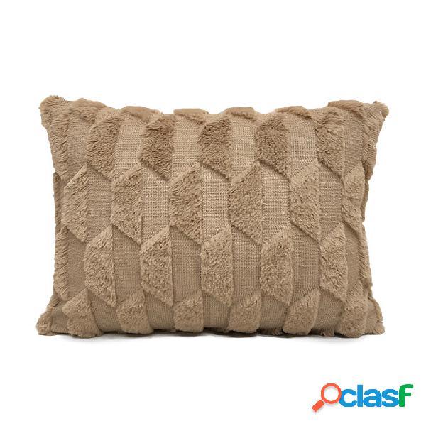 Geometrico peluche tinta unita cuscino camera da letto divano cuscino soggiorno quadrato federa