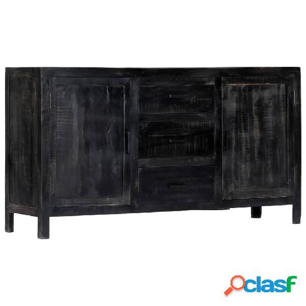 Vidaxl credenza nera 147x40x80 cm legno massello di mango