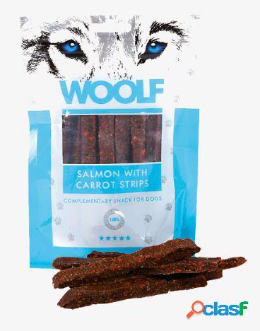 Woolf snack cani monoproteico strisce di salmone e carote 100 gr...