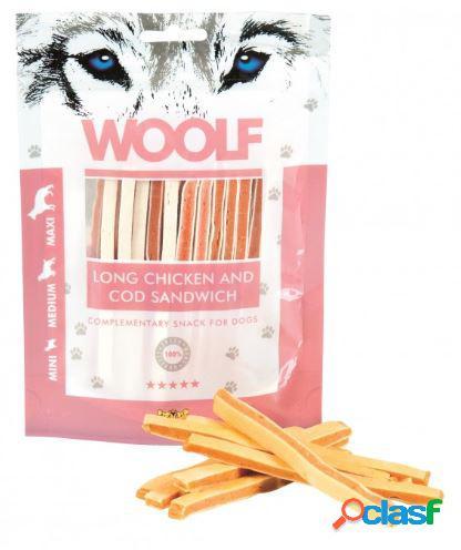 Woolf snack cani sandwich morbido di pollo e merluzzo 100 gr (long...
