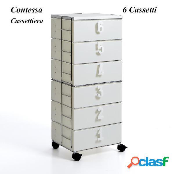 Cassettiera contessa 6 cassetti 44x35xh106 cm in filo metallico cassetti in polipropilene