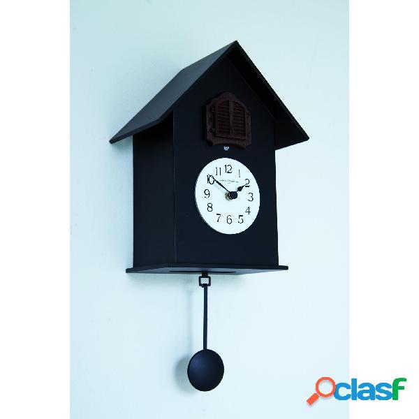 Orologio cucu da muro in legno 18x15xh38cm con cassa in legno laccato colore nero